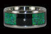 Green Opal and Black Wood Titanium Diamond Ring - Hawaii Titanium Rings  - 1