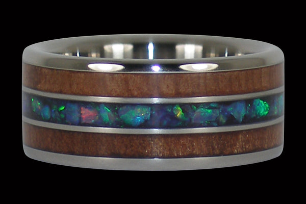 Titanium Ring with Redwood and Opal Inlay