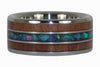 Titanium Ring with Redwood and Opal Inlay - Hawaii Titanium Rings  - 2