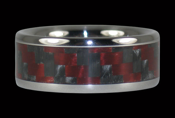 Red and Black Carbon Fiber Titanium Ring Band
