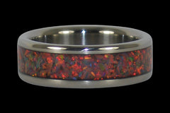 Red Synthetic Opal Titanium Ring - Hawaii Titanium Rings  - 1