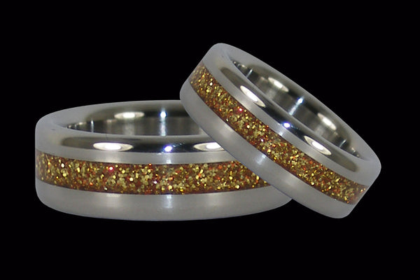 Gold Metallic Inlay Titanium Ring Set