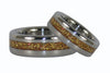 Gold Metallic Flake Inlay Titanium Ring Set - Hawaii Titanium Rings  - 2