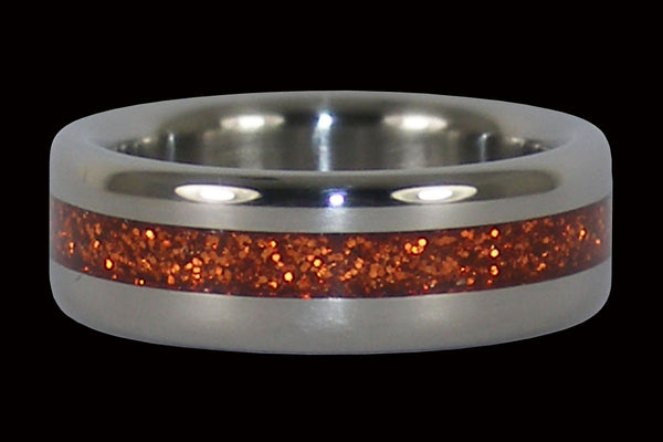 Orange Metal Flake Titanium Ring Band