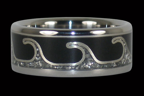 Silver Wave Titanium Ring