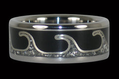 Silver Wave Titanium Ring - Hawaii Titanium Rings