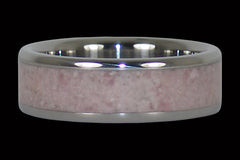 Pale Pink Gemstome Rhodocrosite Titanium Ring Band - Hawaii Titanium Rings  - 1
