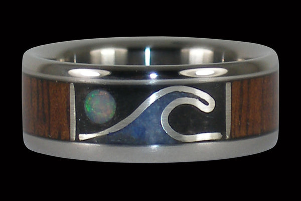 Opal Moon and Wave Titanium Ring