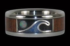 Opal Moon and Wave Titanium Ring - Hawaii Titanium Rings  - 1