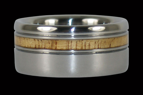 Mango Wood Titanium Ring Band Offset Inlay
