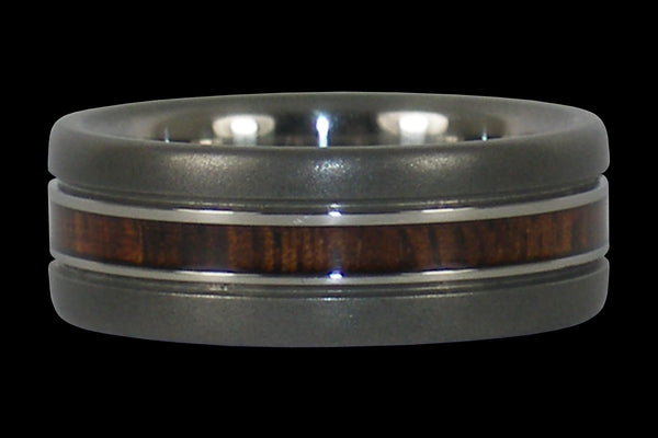 Narrow Wood Inlay Titanium Ring