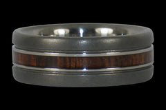 Narrow Wood Inlay Titanium Ring - Hawaii Titanium Rings  - 1