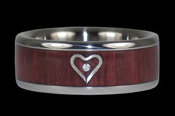 Silver Heart Mothers Day Titanium Diamond Ring