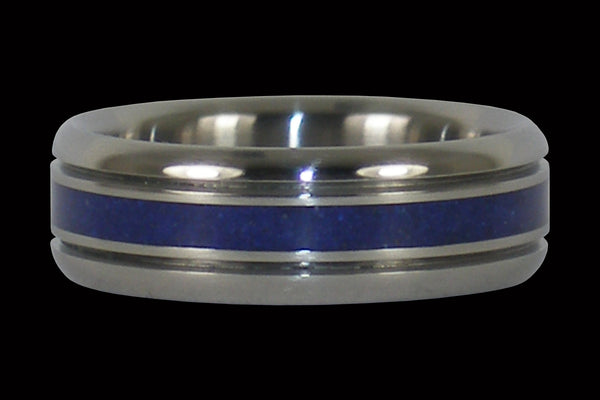 Blue Azurite Titanium Ring Band