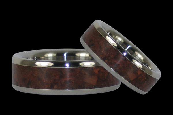 Red Tigers Eye Titanium Ring Set