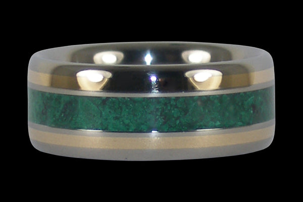 Malachite and Gold Titanium Ring Band