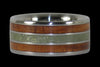 Hawaiian Koa Wood and Peridot Titanium Ring - Hawaii Titanium Rings  - 1
