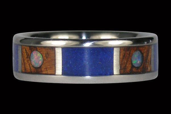 Opal Cabochon Hawaii Titanium Ring® with Koa and Lapis