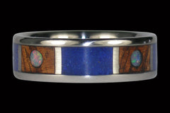 Opal Cabochon Titanium Ring with Koa and Lapis - Hawaii Titanium Rings  - 1