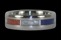 Red White and Blue Stone Titanium Ring - Hawaii Titanium Rings  - 1