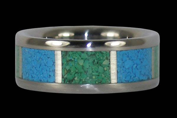December Birthstone Turquoise Titanium Ring