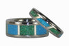 Turquoise Titanium Ring Set - Hawaii Titanium Rings  - 4