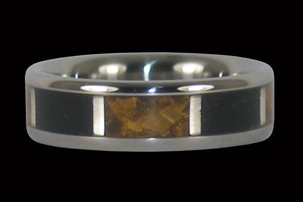 Jet and Gold Tigers Eye Titanium Ring