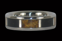 Jet and Gold Tigers Eye Titanium Ring - Hawaii Titanium Rings