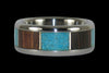 Synthetic Opal and Palm Wood Titanium Ring - Hawaii Titanium Rings  - 3