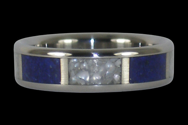 Lapis and Pearl Titanium Ring Band