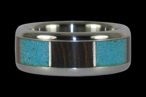 Wenge Wood and Turquoise Titanium Ring