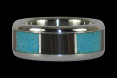 Wenge Wood and Turquoise Titanium Ring - Hawaii Titanium Rings