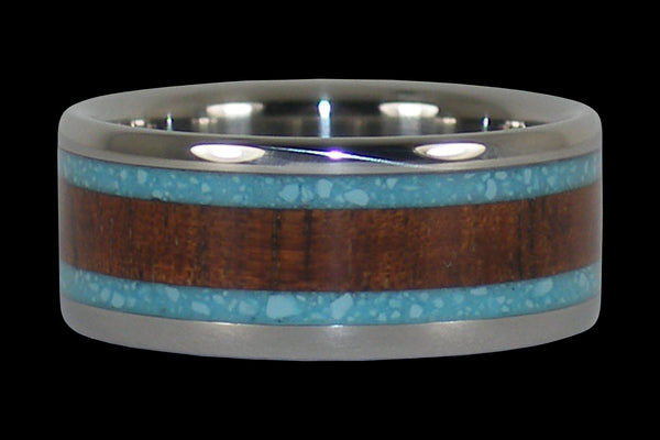 Turquoise and Koa Wood Hawaii Titanium Ring® Band