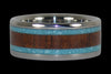 Turquoise and Koa Wood Titanium Band - Hawaii Titanium Rings  - 1