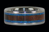 Blue Lab Opal and Dark Koa Titanium Ring - Hawaii Titanium Rings  - 2