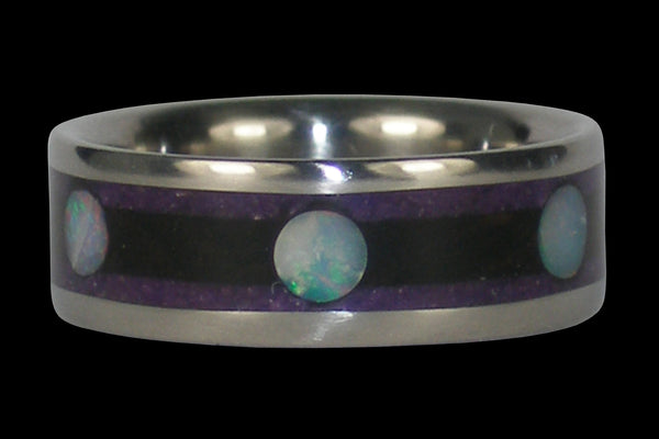 Opal Cab Titanium Ring with Wood and Stone