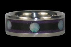 Opal Cab Titanium Ring with Wood and Stone - Hawaii Titanium Rings