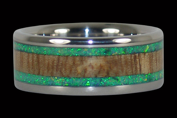 Titanium Ring with Mango Wood and Green Lab Opal