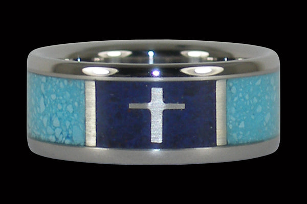Turquoise Titanium Ring Band with Silver Cross in Dark Blue Lapis