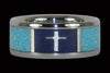 Turquoise Titanium Ring Band with Silver Cross in Dark Blue Lapis - Hawaii Titanium Rings