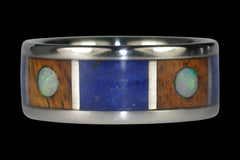 Opal Cabochon Titanium Ring with Koa Wood Inlay - Hawaii Titanium Rings