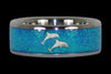 Blue Opal Dolphin Titanium Rings - Hawaii Titanium Rings  - 3