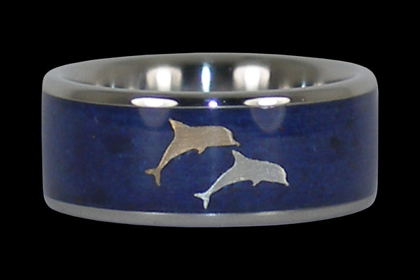 opal dolphin titanium wedding band hawaii titanium rings 4 - Dolphin Wedding Rings