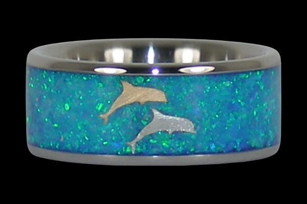 Opal Dolphin Hawaii Titanium Ring® Wedding Band