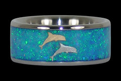 Opal Dolphin Titanium Wedding Band - Hawaii Titanium Rings  - 1