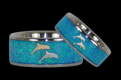 Blue Opal Dolphin Titanium Rings - Hawaii Titanium Rings  - 1