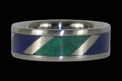 Lapis and Malachite Titanium Ring - Hawaii Titanium Rings