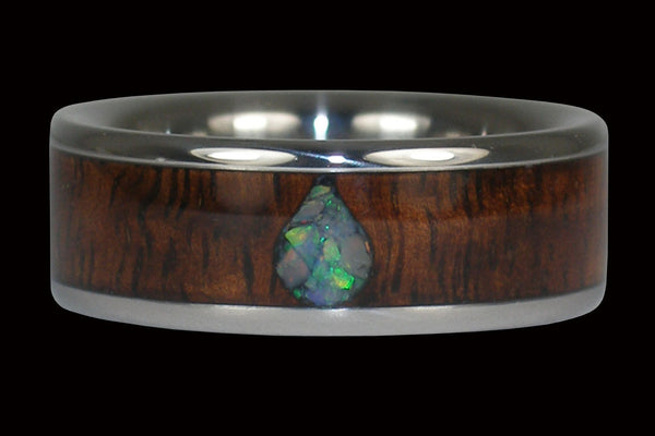 Opal Teardrop Koa Wood Titanium Ring