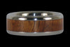 Curly Hawaiian Koa Wood Titanium Ring Band with White Coral - Hawaii Titanium Rings  - 5