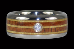 Pau Amarello and Koa Wood Titanium Diamond Ring - Hawaii Titanium Rings  - 1